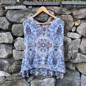 🌿 Free People | Paisley Blue Pink Printed Blouse